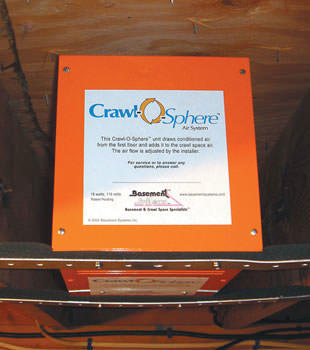 A ventilation fan installed for a crawl space in Wilmington