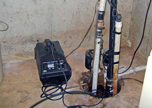 Pedestal sump pump system installed in a home in Manning