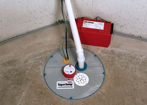 A sump pump system with a battery backup system installed in Bishopville