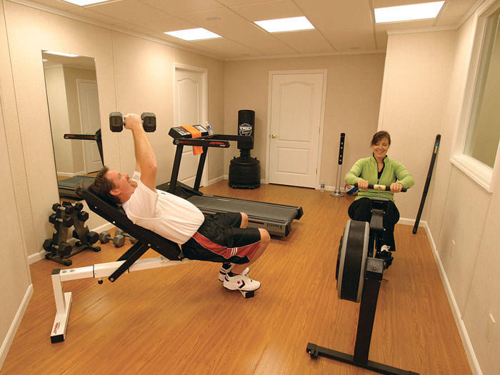 ... A Basement Gym And Workout Room With A Wood Laminate Flooring,  Installed In Pawleys Island ...